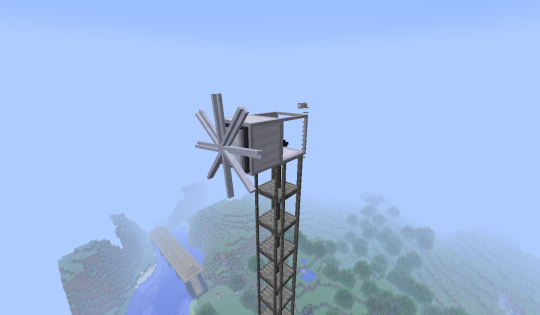 The wind turbine, one of many, many cool ways you can produce mechanical energy in Rotarycraft.