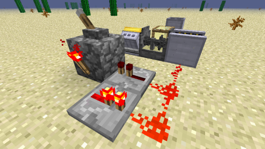 This setup creates a steady and fast redstone pulse. Attaching a lever to the block with the redstone torch allows you to turn the clock off. The redstone is connected to a magnetizing unit powered by a gasoline engine.
