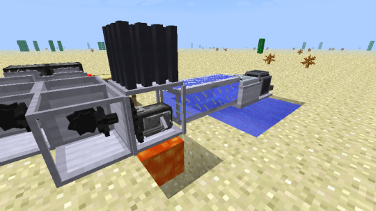 The starting point is typical: a pump sends water into the back of the steam engine. Lava or ignited netherrack heats the steam engine from below. Here I have a cooling fin on top of the steam engine to keep it from exploding.