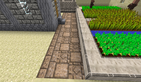 As a walkway in front of the church-like building, I used GeoStrata sandstone: 'cubed', 'centered', and 'brick.'