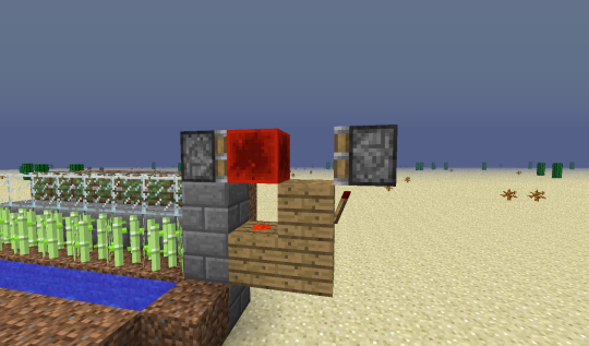 Third, buiild your block update detector. The piston on the left is a sticky piston, while the one on the right is not sticky. The back of the stick piston should be facing the sugar can on the y-level above the pistons, meaning the sugar cane will be adjacent to the sticky piston when it has grown to three blocks high.