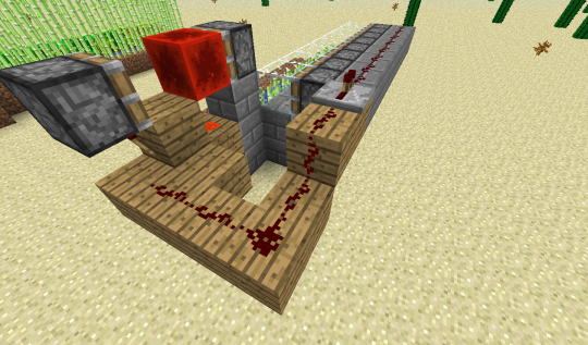 Connect the signal from the redstone torch on the BUD to a line of redstone that runs on top of a row of blocks that sit immediately behind the pistons. Now, when anything happens next to the BUD's stick piston, the row of pistons will quickly activate and deactive.