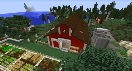 Here's the barn from the top. Red and White Siding blocks form the walls. I chose to use dark oak slabs for the roof.