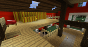 "Upstairs first level. I'm decorating with a lot of hay bales/thatch. Also notice the ""open skylights""."