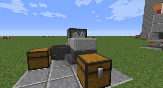 The slab needs to sit in front of the dispenser on the bottom half of the block.