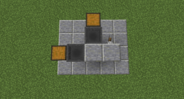 The front of the farm is to the left. The first layer consists of two chests with two hoppers leading into them, two blocks, and an optional lever.