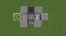 This layer is considerably more complicated. Starting from the left, a glass blocks sits on top of the chest. A slab covers the left hopper and is surrounded by blocks and a dispenser that faces into the slab. Another hopper sits above the other hopper from layer one and leads into the dispenser. Behind the dispenser is a comparator. Finally, you need to place the two blocks for the torches of the burnout switch.