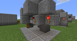 The burnout switch works the same way but as a slightly different structure. The redstone sits on top of the block that the left torch is attached to.