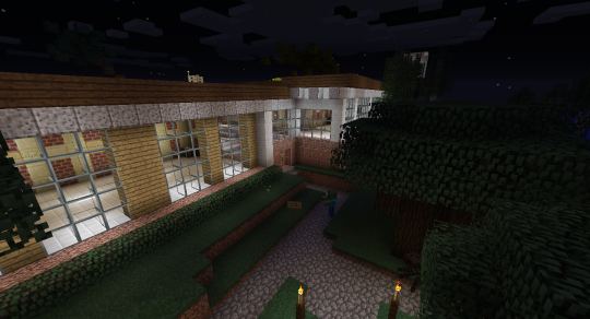 This is a pretty good shot of the front exterior. The glass is alternating Quite Clear Glass and Enlightened Glass from EnderIO.