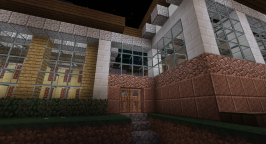 A closer shot of the front entrance. The main materials I am using include: oak planks, spruce planks and slabs, granite, polished granite, polished diorite, and alabaster from mod Environmental Tech.