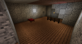 This may very well turn into a bedroom, or at least a hub for bedrooms. Jungle planks on the floor, alternating diorite and polished diorite on the walls. The lamps on the walls from from the mod Silent's Gems.