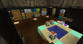 "Going downstairs from the ""bedroom"" leads to my original cave, which still houses the bulk of my storage, ore processing machines, and enchantment facilities."