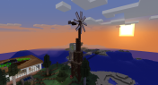 A wooden wind turbine using Immersive Engineering.