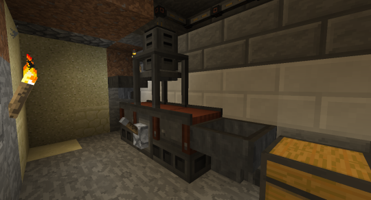 An Immersive Engineering multi-block structure that exists solely to press metal into shapes, like plates. Ingots are fed onto the conveyor belt from the hopper on the left, they get pressed in the middle, and they are deposited into the hopper on the right.