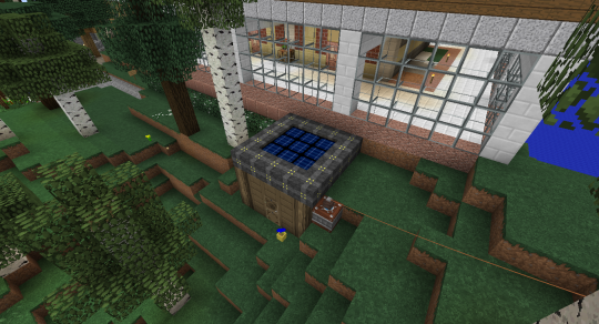 This is a simple tier 1 solar array. I built a small fir wood shed around it so I could have protected access to its guts.