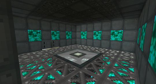 I wanted a special room to complement the awesome look of the Ender IO Telepad. I used Steel Scaffolding from Immersive Engineering for the flooring. Under that is a layer of Celestial Crystal (added to the End by Biomes O'Plenty). The walls and ceiling are made up Conduit Facade painted to look like various decoration blocks from Ender IO, as well as more Celestial Crystal.
