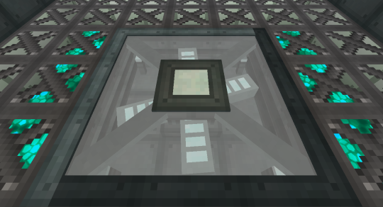 Lay down a 3x3 grid of Telepad Blocks and they will reform into this - the Telepad. The fans that you see inside it are animated. They spin up when you teleport.