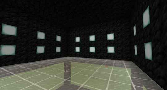 Walls filled in above. Here I've used coal blocks and Sea Lanterns. Notice that the bottom Sea Lanterns are one block above the floor.