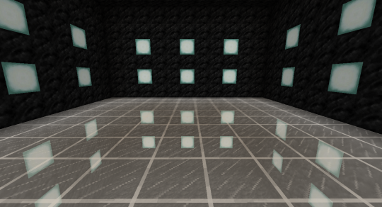 Placing the bottom room one block closer to the glass blocks produces just the right effect.