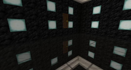 Doors must be placed one block above the glass floor. Make sure your two doors are facing the same direction.