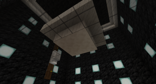 I will replace the 3x3 area of the floor of the pool with more nether quartz. This won't be visible from above.
