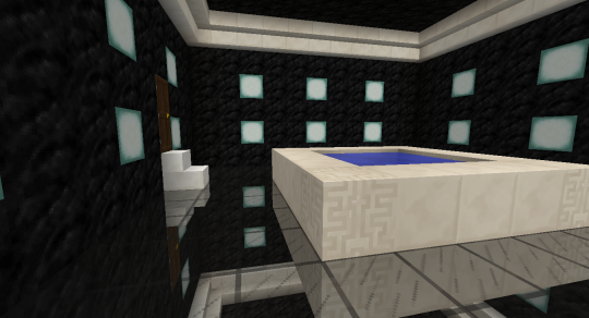 Another look at the pool, the crown moulding, the door, and the step up to the door.
