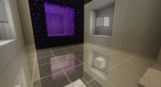 At the moment I am using purple stained glass panes in the reflected portal. This is because I kept coming back to the overworld in the reflected room rather than the original room. I'll fix this and then activate the portal below.