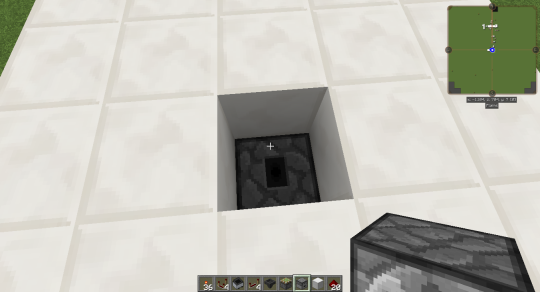 The droppers must face upward. Put a ground block (here quartz) on top of the upper dropper. The dropper chain will toss the item through the ground into the player's inventory.