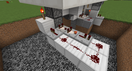 Finally, create a redstone array like this one to cause of comparator clock to send a pulse into the dropper chain whenever an item enters into it. This will send the item back up to the player without opening the door.