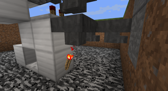 Above the redstone torch and below the filter hopper place a hopper that leads into another hopper chain. We'll finish this hopper chain later. When the torch is powered, this bottom hopper will not receive items from the filter hopper.