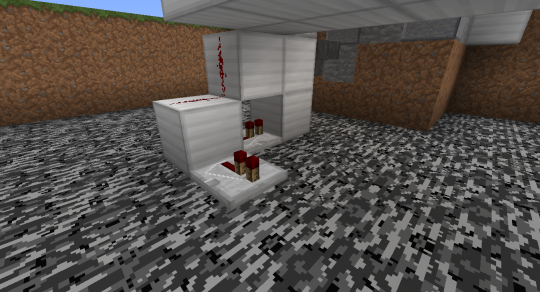 Place another repeater away from the back-most block of the hopper filter array. When an item passes through the hopper filter (i.e., a correct item was dropped), a brief redstone pulse will cause this repeater to activate for just an instant. Fortunately, that instant is all we need. We just need to extend it.