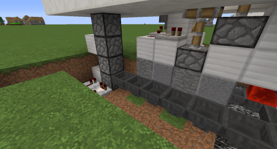 Extend the hopper chain at the bottom of the hopper filter over to a new upward facing dropper chain. It should lead into a floor block that sits inside the secret room.