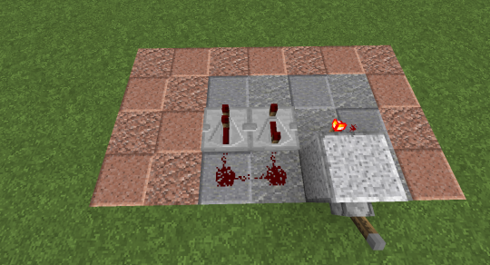 Put down redstone and repeaters like this. Make sure the repeater on the right is on the longest interval (right click three times).