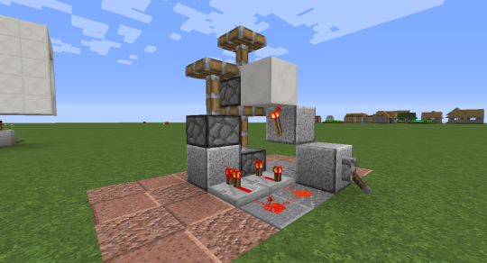 When you flip the lever (redstone signal on) all three pistons extend.