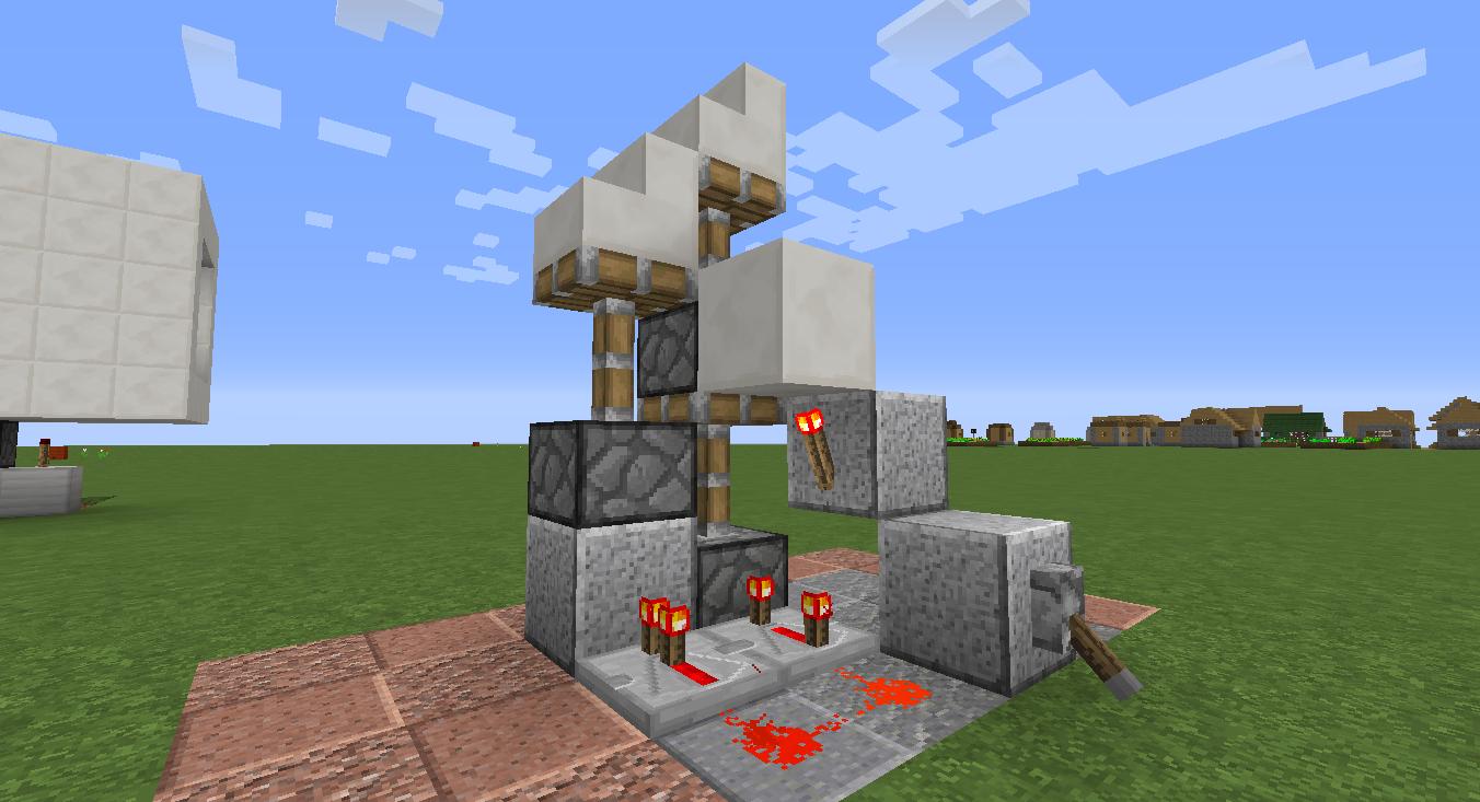 How To Build A Stair Case Piston Door In Minecraft