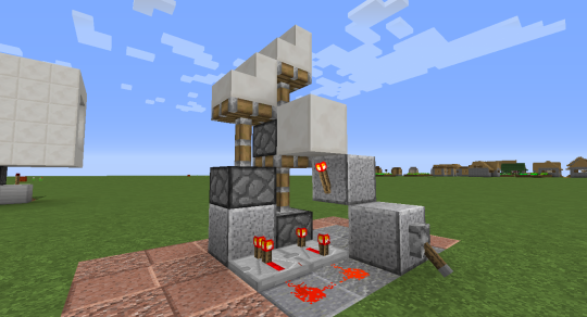 Place stair blocks on the pistons, and you will see what this will look like when the secret door is concealed.