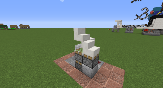 The problem at this point is that, while the pistons retract completely, the stair block above the piston extender doesn't.