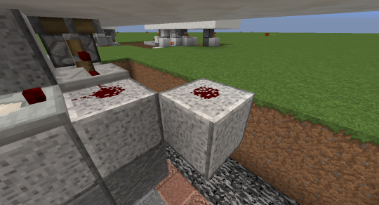 Place a block diagonally to the one containing the redstone dust of the pulse generator part of the original build. Put redstone dust on this as well.