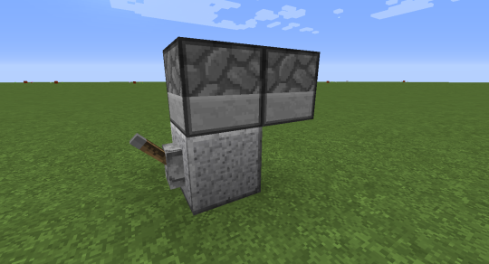 These two dropper face each other, and a single piece of something is placed in the one on the left. When the redstone signal turns on (lever or button), the piece of something (cobblestone) moves from the left to the right dropper.