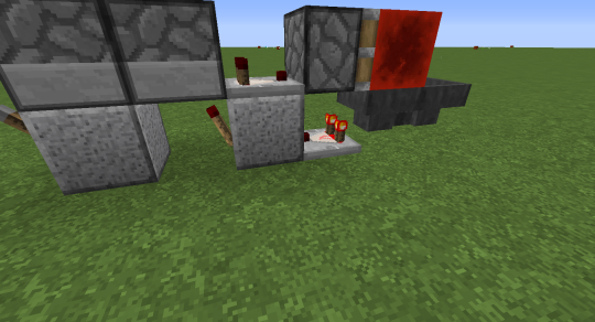 A comparator next to the left hopper emits a redstone signal by default (since items start in the left hopper). This depowers a redstone torch sitting under the right hopper. When all items have filtered into the right hopper, the comparator turns off, powering the torch, activating the dropper and sending the piece of whatever back into the left dropper, turning off the comparator next to the right dropper, causing the piston to retract and items to flow back into the left hopper.