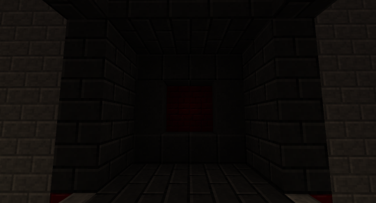 This is the front of the door when closed. It's a little difficult to see, but the material is basalt pavers and bricks and red nether brick.