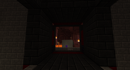 When the door is open, it looks like this - a 4x4 sticky piston powered redstone door. Awesome design by MumboJumbo.