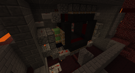 The redstone for this door is a little involved (you can find it on YouTube), and Ghasts and Red Creepers seemed to take a very keen interest in what I was doing.