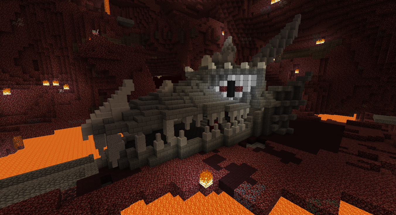 A dragon skull entrance for a wip evil nether fortress for Fortress build