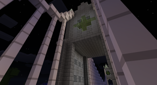 Looking up at the middle tower. I altered just slightly the design of the glass windows for the middle tower. The basic design elements, however, are the same throughout as in the end towers.