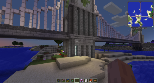 I used multiple layers and changing widths to give the tower walls some texture.
