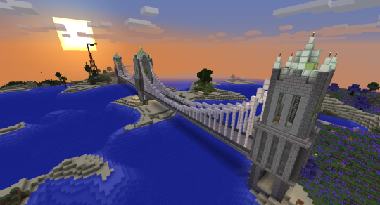 My big ol' suspension bridge, mostly completed (except for a few details here and there).