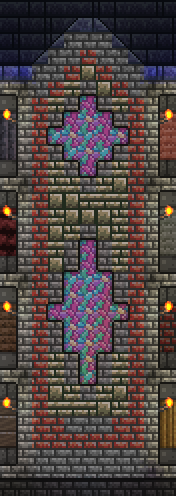 This was originally stone brick wall rather than blocks, but I decided to replace it with blocks backed by diamond Gemspark wall. The main downside to this is that my stained glass windows look darker than they did before.