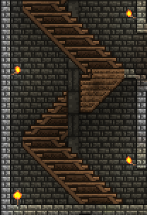 The spiral staircase in my side towers are a variation on what is commonly done. The solid blocks of wood are to give the impression of looking at the back of the staircase. I need to vary the width of the steps a little more effectively to reduce the zig-zaggy appearance of the staircase.