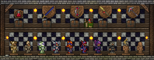 This wall is made of arboreal wood wall, smooth marble wall, and smooth granite wall. The chests here are intended to be more of my ready-use chests: the kinds of things I want handy and don't want archived.